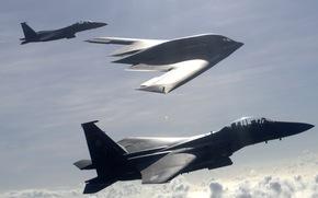 истребители, бомбардировщик, американцы, полет, сопровождение, небо