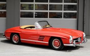 retro, Cabriolet, red, mercedes
