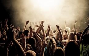 foule, personnes, concert, mains, jusqu'