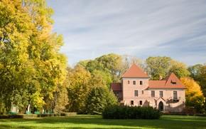 Kutno, 波兰, 城堡, 建筑, 房子, 秋天, 公园, 树, лавочки, 性质