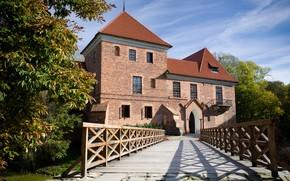Kutno, Poland, castle, brick, bridge, railing, architecture, Trees, nature