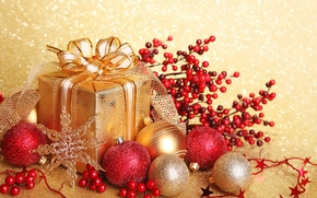 Holidays, New Year, Christmas, gift, packaging, box, gold, bow, Tape, Christmas, Toys, Jewelry, Balls, Balls, Gold, red, tinsel, snowflake, New Year