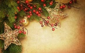 звезды, винтаж, золотые, новогодние, елочные, игрушки, шарики, украшения, елка, ветка, праздник, остролист, Новый Год, Рождество, Новый год
