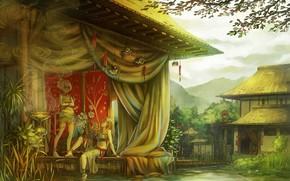 Arte, casa, Asia, ragazze, stagno, loto, di legno, vaso, fumare