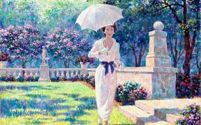весенняя рапсодия, женщина, зонтик