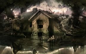 арт, дом, вода, руины, водопад, камни, мрачно, потоп