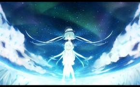 Art, Girls, sky, Star, night, anime, clouds, hat, radiance
