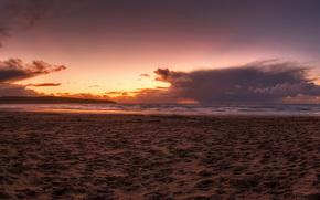 небо, закат, вода, песок