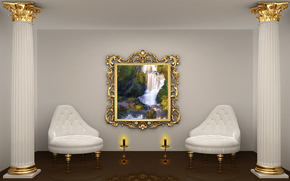 room, Two, Carved, Collon, Two, chair, Candles, picture of gold, frame