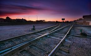 sunset, railroad, city