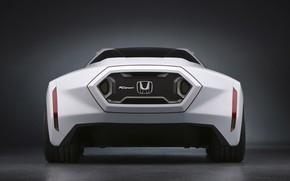 Машина, авто, белый, логотип, фон, стоит, Honda