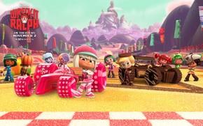 фильмы, мультфильм, мультик, ральф, девочки, розовый. фон, обои