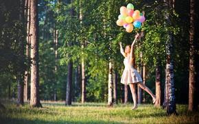 ragazza, rosso, capelli, vestire, Sarafan, aria, Palle, foresta, verdura