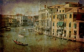 Венеция, Италия, канал, гондола, город, гранж, винтаж, навесы, маркизы, дом, дворец, палаццо, причал