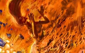 романтика апокалипсиса, арт, девушка, осколки, огонь