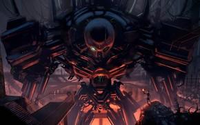 Art, robot, metal, giant, man, torch, Wire, hangar