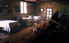 Sztuka, bar, Stoy, kawiarnia, gramafon, obrusy, stojak, krzesa