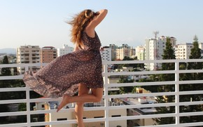 roof, wind, city, dress