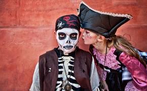 дети, мальчик, девочка, пираты, костюмы, карнавал