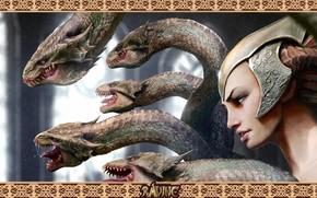Девушка, шлем, рога, змеи
