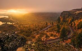 paesaggio, strada, traccia, alberi, sole, tramonto, cielo, Montagne, acqua, luce