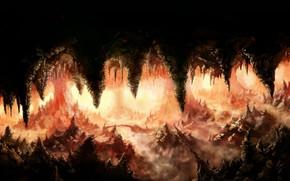 Art, cave, rocks, Stalactites, stalagmites