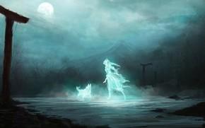 арт, фантастика, девушка, волк, дух, призрак, ночь, луна, гора, арки, руины