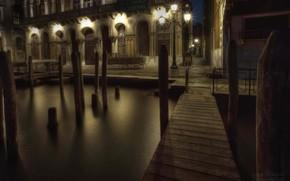Город, Италия, Венеция, ночной город, тихая ночь, канал, мост, ночные фонари, романтика