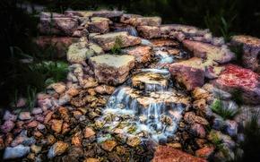 waterfalls, stones, landscape
