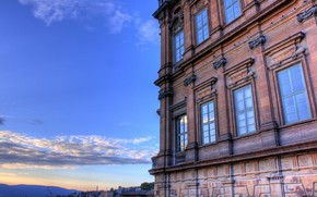 небо, окна, здание, синий