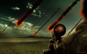 cielo, Meteoriti, soldato, vista, nuvole, orizzonte