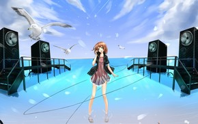 Art, anime, girl, Gulls, water, headphones, wire, sky, clouds, sea, stairs