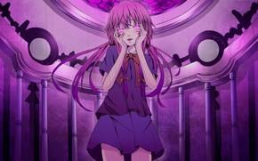 Art, anime, girl, Diary of the future, bow