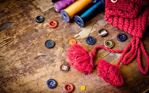 buttons, thread, cap, old, table