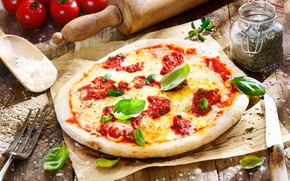 pizza, dish, food, spices, tomatoes, cheese, dough, knife, fork