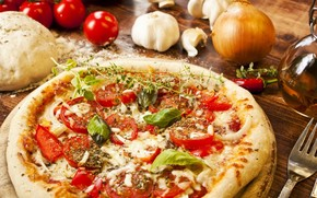 pizza, dough, seasoning, spices, dish, tomatoes, pepper, onion, garlic, cheese, oil, fork
