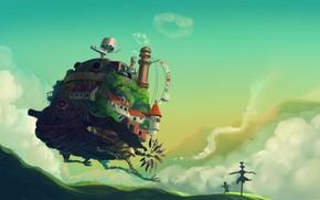 арт, Ходячий замок Хаула, хаяо миядзаки, холмы, пугало, мальчик, трава