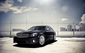 Mercedes Benz, negro, estacionamiento, Rascacielos, destacar, Mercedes