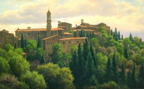 picture, landscape, Italy, town, Built, Trees, home, Roof, belfry, summer, light