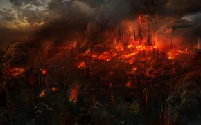 fire, city, lava, smoke, cataclysm, disaster