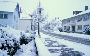 зима, снег, улица, город
