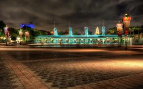 Stati Uniti d'America, cielo, California, Disneyland, notte, strada, marciapiede, piastrella