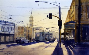picture, watercolor, city, Morning, Street, tram, stop, Wire, cars, lantern, tower, watch, light, shadow