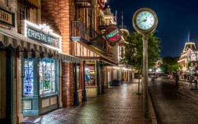 Stati Uniti d'America, casa, California, anaheim, Disneyland, strada, notte, marciapiede, finestra
