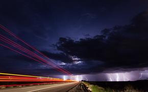 USA, Arizona, night, sky, clouds, Lightning, lightning, road, light, exposure