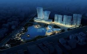 piscina, edificio, strada, progetto