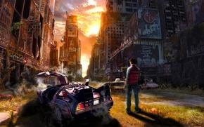 человек, авто, город, руины