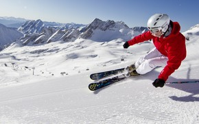 snow, Mountains, Blue Sky, Skiing, carving
