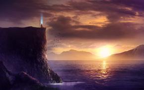 Arte, paisagem, mar, rochas, quebrar, homem, monge, spear, pr do sol, Aves, magia
