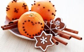 oranges, cinnamon, Sticks, carnation, heart, Spices, New Year, cookies, glaze, baking, dessert